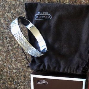 Authentic Coach Kissing C Silver Bangle in Bag/Box